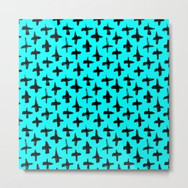 Aqua Blue and Black plus signs brush strokes seamless pattern Metal Print
