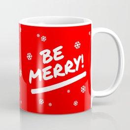Bright Red Be Merry Christmas Snowflakes Coffee Mug