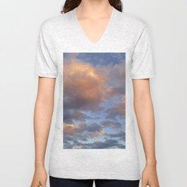 Orange Clouds  Unisex V-Neck