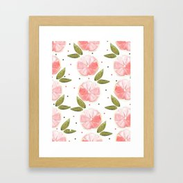Grapefruit Slices - Peach And Green Palette Framed Art Print