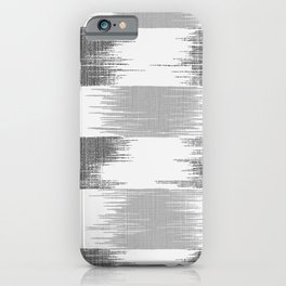 Modern black gray white ikat pattern iPhone Case