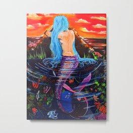 Wondering Mermaid Metal Print
