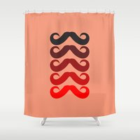 mustache Shower Curtains featuring Mustache by Spooky Dooky