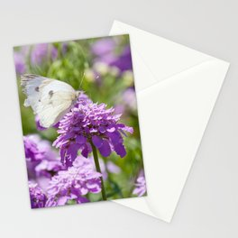Butterfly and purple flowers Stationery Cards