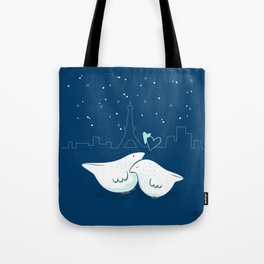 Lovey Doves - Paris pair at night Tote Bag