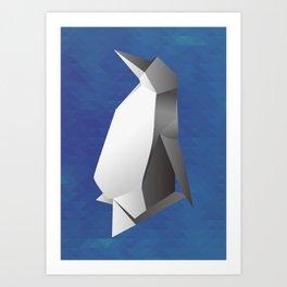 Paper origami Penguin Art Print