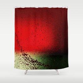 Black Flicks of Paint Shower Curtain