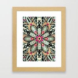 Tribal Geometric brown and green Mandala Framed Art Print