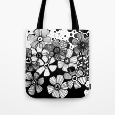 Black and White Abstract Flowers Tote Bag