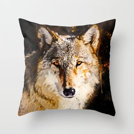 wolf splatter watercolor Throw Pillow