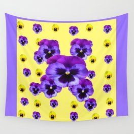 LILAC FRAMED YELLOW & PURPLE PANSY GARDEN FLOWERS Wall Tapestry