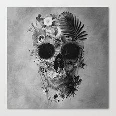 Garden Skull B&W Canvas Print