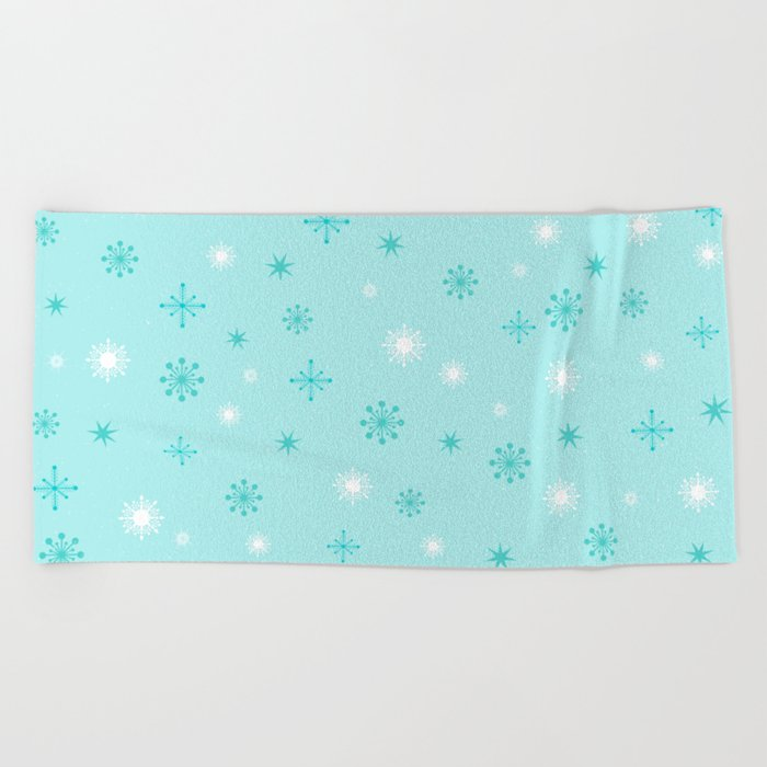 AFE Turquoise Snowflakes Beach Towel