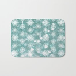 Holiday Teal and Flurries Bath Mat