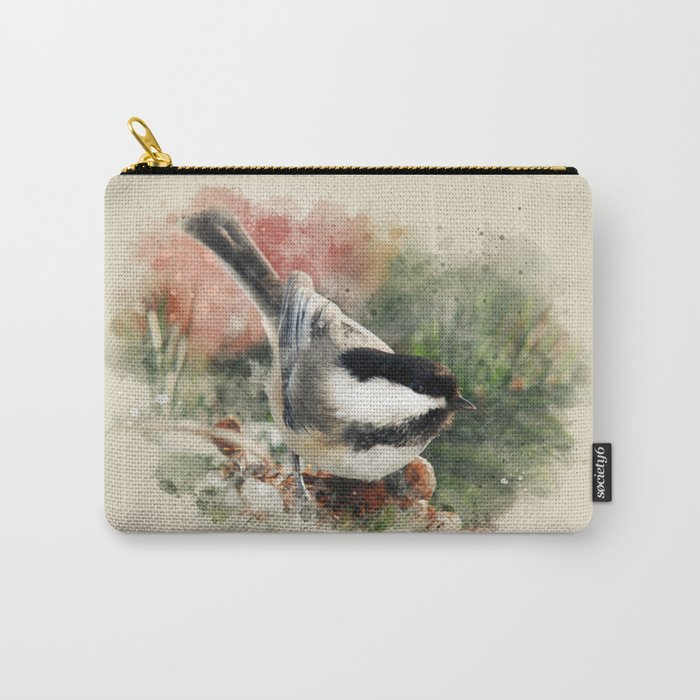 Chickadee Watercolor Art Carry-All Pouch
