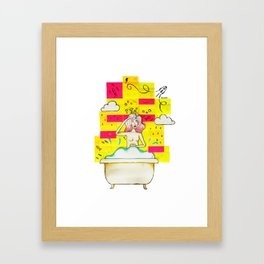 Bath Tub Post-it Framed Art Print