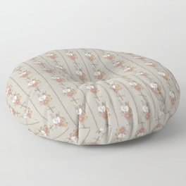 Straw Flowers and Stripes - Grey Green Floor Pillow