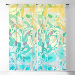 Summer Beach Days Abstract -  Yellows And Blues Blackout Curtain