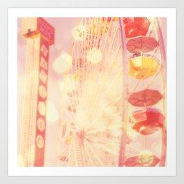 Carnival Lights. Santa Monica pier ferris wheel photograph Art Print