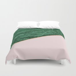 Green Marble with pink Duvet Cover