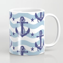 Sailor Stripes and Anchor Pattern Light Blue 10 Coffee Mug