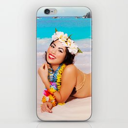 """""""Sandy Shores"""" - The Playful Pinup - Tropical Beach Pin-up Girl by Maxwell H. Johnson iPhone Skin"""