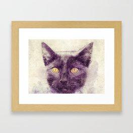 Black kitty art Framed Art Print