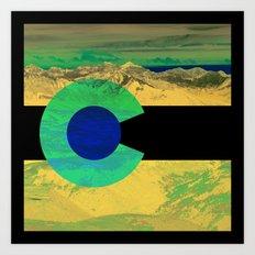 Colorado flag and mountains Art Print