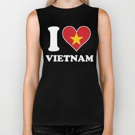 I Love Vietnam Vietnamese Flag Heart Biker Tank