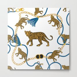 Leopard & chains Metal Print