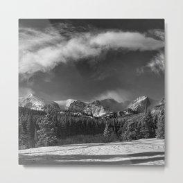 Rocky Mountan Park in Black and White Metal Print