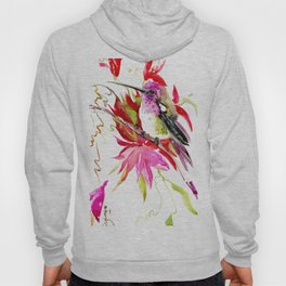 Little Hummingbird and Tropical Pink Flowers Hoody