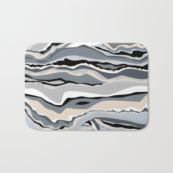 Black and white scandinavian minimal line pattern Bath Mat