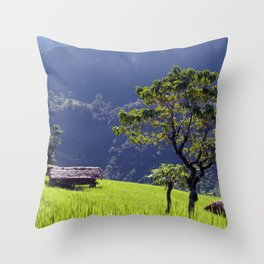 Bright Green Rice Field Nepal Throw Pillow
