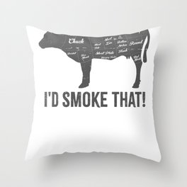 Cow I'd Smoke That BBQ Fathers Day Throw Pillow