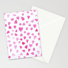 Blush pink hand painted watercolor valentine hearts Stationery Cards