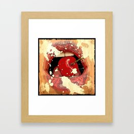 Red Cherry Lips Framed Art Print