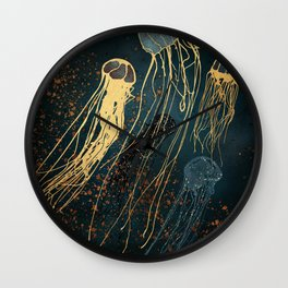 Metallic Jellyfish Wall Clock