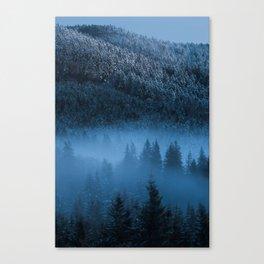 Magical fog over snowy spruce forest Canvas Print
