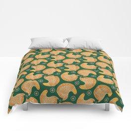 Yellow hen pattern on green Comforters