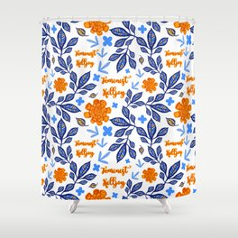 Blue and Orange Floral Feminist Killjoy Print Shower Curtain