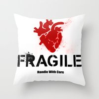 anatomical heart Throw Pillows featuring Fragile Anatomical Heart(RED) by J ō v