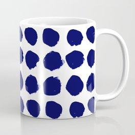 Aria - indigo brushstroke dot polka dot minimal abstract painting pattern painterly blue and white  Coffee Mug