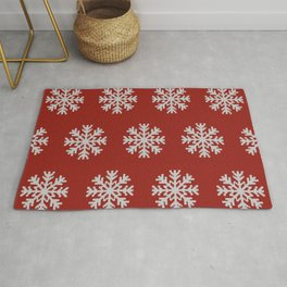 Knitted snowflakes Christmas pattern on red Rug