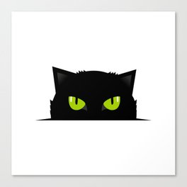 Black cat follow you Canvas Print