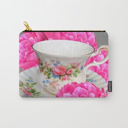 FLORAL TEA CUP & PEONY FLOWERS YELLOW ART Carry-All Pouch