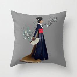 Modern Woman in Kimono Throw Pillow