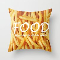 food Throw Pillows featuring Food by The Fifth Motion