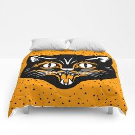 Vintage Type Halloween Black Cat Face Stars Orange Comforters