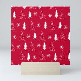 Santas Workshop Red and White Christmas Trees Classic Christmas Mini Art Print